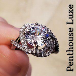 Diamond Vortex Galaxy Sterling Silver Ring